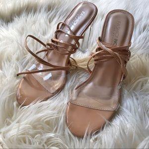 FASHION NOVA clear/nude lace up heels